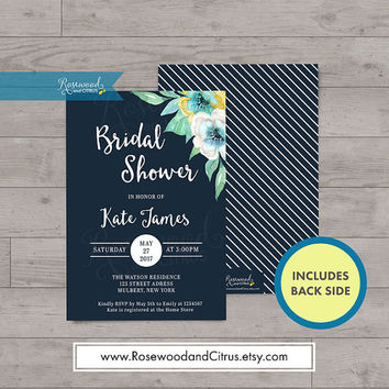 Blue Floral Bridal Shower Invitation, Watercolor Floral Bridal Shower Printable Invitation, Bridal Brunch Invitation, Bridal Shower Invites