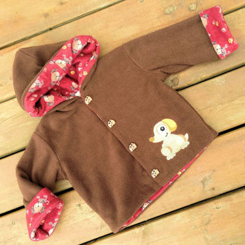 Children's Jacket Hoodie ( Handmade Flannel Lined Fleece Jacket with Dog and puppy buttons and Hood ) -  Children's Jacket Size 2
