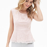 LOVE 21 Floral Lace Peplum Top