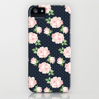 Blue and Pink Vintage Rose Pattern iPhone & iPod Case by heartlocked