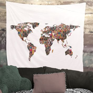 Bohemian Patchwork Fabric Map Of Earth Tapestry Wall Hanging Meditation Yoga Grunge Hippie