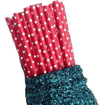"7.75"" red polka dot print paper straws / 6-25 pieces"