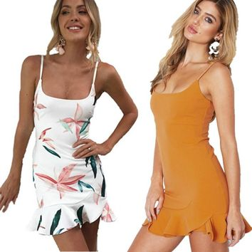 8 Clour Sexy Backless Strap Bodycon Dress Women Floral Print Ruffles Bandage Tunic 2018 Summer Beach Party Female Vestidos