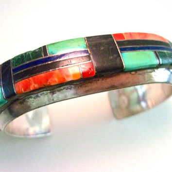 Old Pawn Sterling Silver Gemstone Inlay Cuff Bracelet, New Mexico, Large Vintage