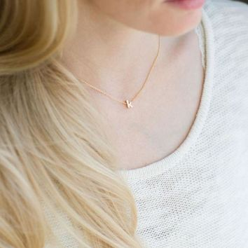 Dainty Initial Necklace, Gold Lowercase Initial, Silver Lowercase Letter Necklace, Gold Name Necklace, Personalized Initial Necklace, Gift