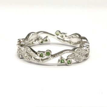 Tsavorite Diamond Wedding Ring 14K White Gold,Green garnet ring,Retro Vintage Floral,Full Eternity Matching Band,Anniversary Fine Ring