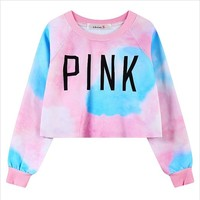 MapleClan Dreamlike Rainbow Letter Print Pullover Fleece Crop Top Long Sleeve Tee
