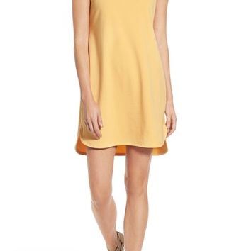Eileen Fisher Stretch Cotton Ballet Neck Shift Dress (Regular & Petite) | Nordstrom