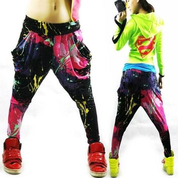 VONGB5 Jazz hiphop jazz dance hip-hop pants ds doodle spring and summer loose neon candy color harem pants 0416