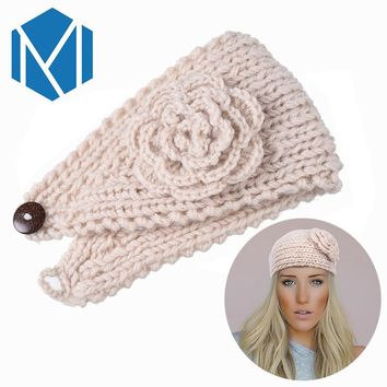 M MISM Classic Knitting Flower Hair Band Winter Warm Turban Ear Headband Crochet Headwrap Wide Size Wool Warmers For Women Girls