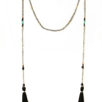 Seed Bead Tassel Necklace - Black | ZOE Boutique