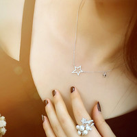 Womens Twinkle Sterling Silver Stars Necklace + Gift Box Jewelry-57