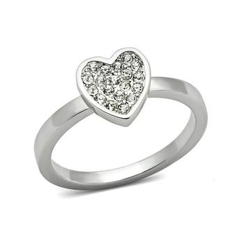A Clear Heart - FINAL SALE Rhodium Plated Ring with Clear Crystals