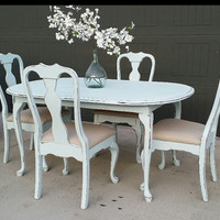 SOLD  Painted Dining Table and Chairs Set Farmhouse Furniture Rustic Chic Furniture Painted and Distressed