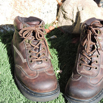 Dr Martens England boots UK 7 / US 8 mens / 9.5 womens / vintage Doc Marten AW004 hiking work boots / brown leather lace up ankle boots