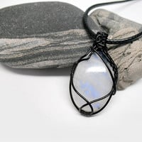 OOAK Moonstone necklace, wire wrapped rainbow moonstone, black copper wire, blue fire moonstone, unique necklace for women