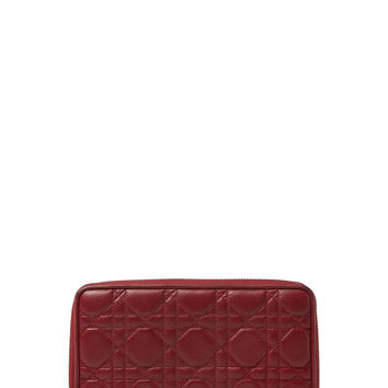 Christian Dior Women's Red Cannage Quilted Lambskin Zip Around Wallet - Red