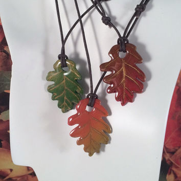 Fall Oak Leaf Pendant Necklace, Red Orange Gold & Green, Polymer Clay Resin Adjustable Jewelry