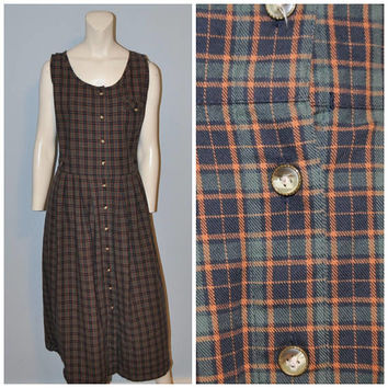 99f2a2e2f8 Vintage 1990's Plaid Button Front Jumper Dress Pinafore Green an. Skirts  and Dresses