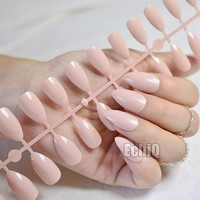 Shiny Nude Fashion Stiletto False Nails Sharp Curve Simply Fake Nails for daily wear On the Nail Tree 24pcs