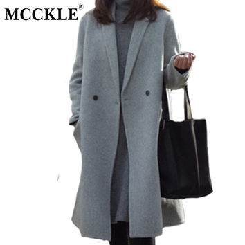 MCCKLE women's elegant long style warm wool blends autumn winter vintage solid coats jackets ladies casual oversized outerwear