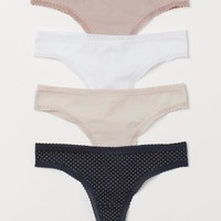 4-pack Brazilian Briefs - Dark blue/powder pink - Ladies | H&M US