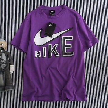 Nike Fashion Women Men Casual Letter Print Purple Short Sleeve Round Collar T-Shirt Top I-XMCP-YC