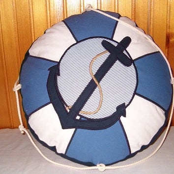 NAUTICAL PILLOW into Children's Room - Life Preserver- Blue and White Life Belt Cushion - Nautical Ocean Beach Theme - HET
