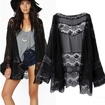 Black Lace Elegant Women Kimono Jacket Shawl 2016 New European and American Casual Fashion Lace Long Sleeved Kimono S22005