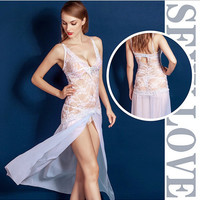 On Sale Hot Deal Cute White Sexy Sleepwear Hollow Out See Through Spaghetti Strap Dress Exotic Lingerie [6595787971]