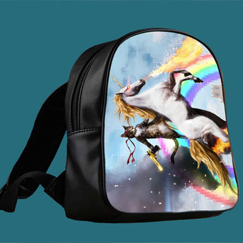 Cat Riding Unicorn with Gun Funny Cute for Backpack / Custom Bag / School Bag / Children Bag / Custom School Bag *