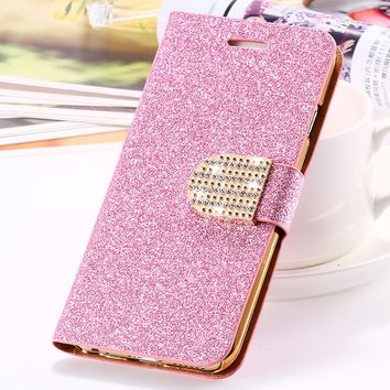FLOVEME For iPhone 7 8 Plus iPhone X Case Luxury Leather Wallet Pouch For iPhone 5 5S SE 6 6S 7 8 Plus Glitter Crystal Cases