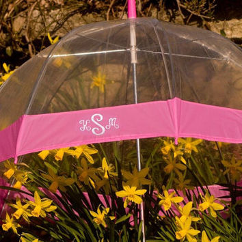Dome Umbrella, Monogrammed umbrella pink/clear dome, Personalized umbrella clear/black, Trendy umbrella