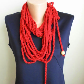 Wool neck warmer .Crochet chain necklace. terracotta. Crochet necklace.Infinity  Neckwarmer. FREE SHIPPING