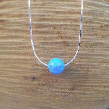 4mm / 5mm / 6mm / 8mm bead charm pendant opal necklace, 925 sterling silver chain, round ball light blue opal pendant, dainty necklace