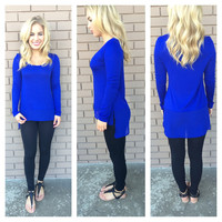 Royal Long Sleeve Modal & Chiffon Top