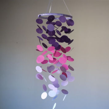 Purple ombre floating circle mobile! Crib mobile, Boy/Girl/Teen/Tween mobile. Baby nursery mobile. Baby shower, bridal shower, Modern mobile