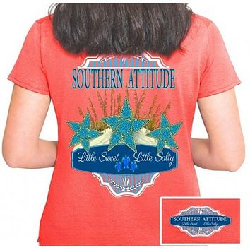 Country Life Outfitters Southern Attitude Coral Starfish Vintage Girlie Bright T Shirt