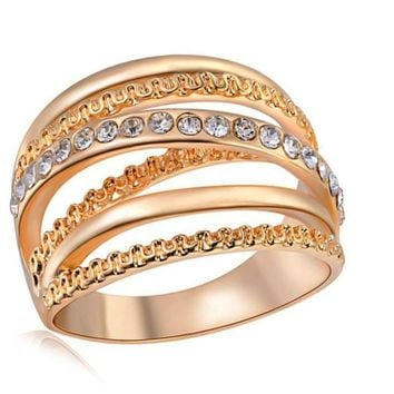 An Elegant Finger Ring With Paved Small Crystals For Women 3 Color