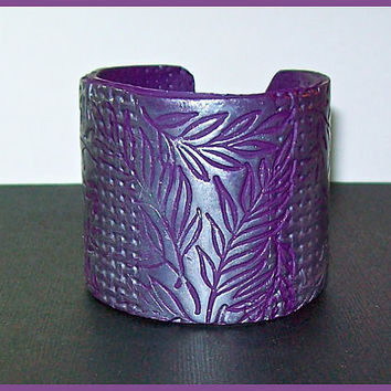 "Cuff Bracelet Silver on Violet Polymer Clay Leaf Design 2"" Wide Handcrafted Magnetic Clasp"