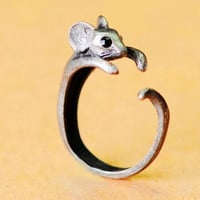 "Emily ""Little Mouse With Big Black Shiny Eyes"" Ring"