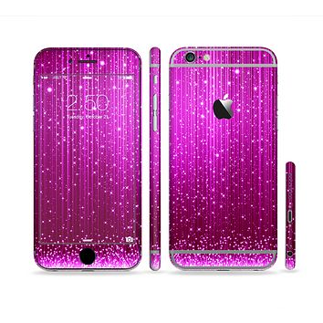 The Abstract Pink Neon Rain Curtain Sectioned Skin Series for the Apple iPhone 6