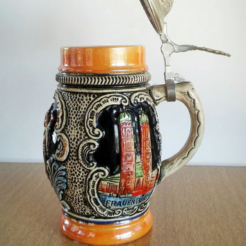 Munchen German Beer Stein Lidded, Vintage German Munchen Beer Stein Pewter Lid