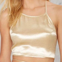 Gold Metallic Cross Strap Back Crop Cami Top