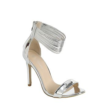 Silver Sophisticated and Chic Peep Toe Heel