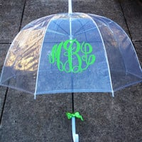 SALE-Monogrammed Gift, Monogrammed Umbrella, Personalized Umbrella, Clear Dome Umbrella, Bridesmaid Gift, Shower Gift, Hostess Gift