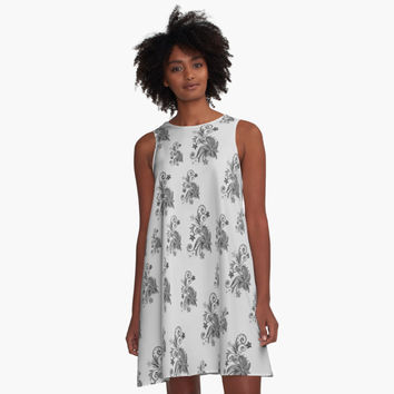 'Gray, silver ornament, asymetric floral design' A-Line Dress by cool-shirts