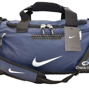 Nike Duffel Gym Bag Max Air Navy Blue Black Small Duffle Training Tarpaulin Men