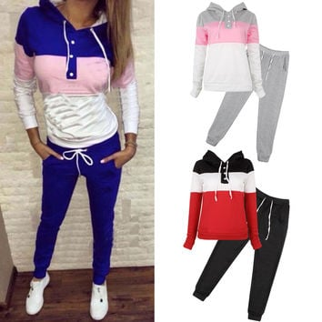 2Pcs Women Casual Hoodie Sweatshirt Jogger Tracksuit Set - 3 colors