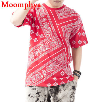 Men west coast cashew paisley print t shirt monochrome revival cashew flower vermilion red print t shirt men